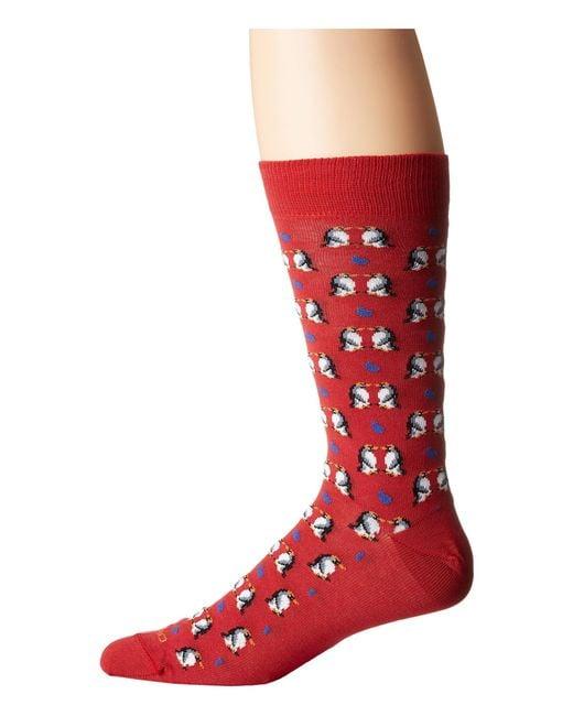 Etro | Red Kissing Penguins Socks for Men | Lyst