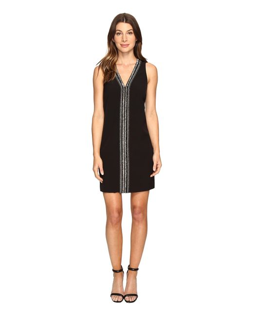 Laundry by Shelli Segal | Black Sleeveless Beaded V-neck Dress | Lyst