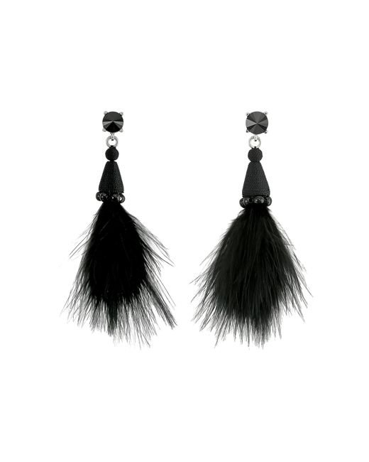 Oscar de la Renta | Black Marabou Feather P Earrings | Lyst