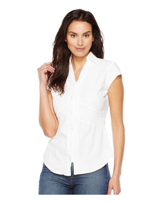 Scully | White Cantina Elaina Cap Sleeve Top | Lyst