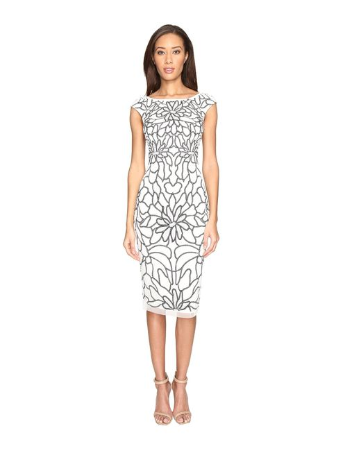 Adrianna Papell | Multicolor Cap Sleeve Flower Beaded Dress | Lyst
