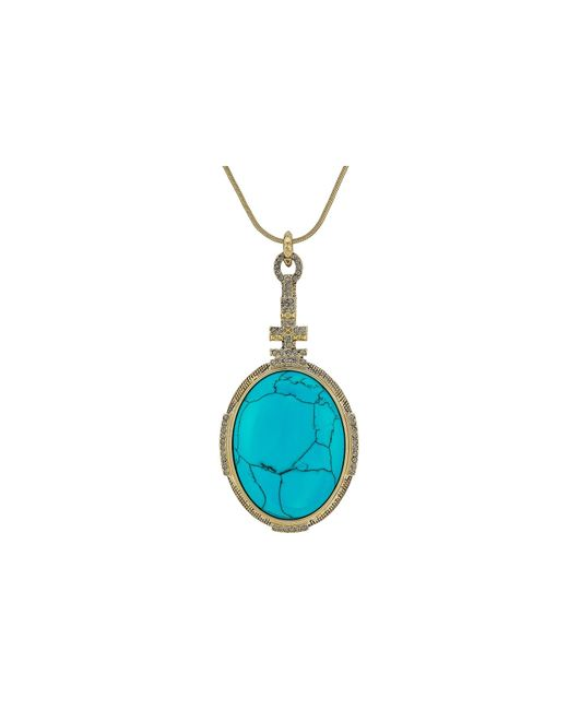 House of Harlow 1960   Blue Tanta Crosshatch Pendant Necklace   Lyst