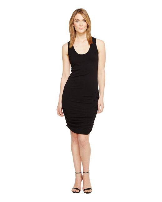 Michael Stars   Black Scoop Neck Tank Dress W/ Shirring   Lyst