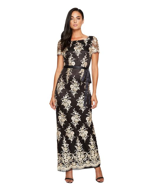 Tahari | Black Embroidered Sheath Gown | Lyst
