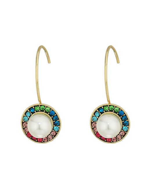 Betsey Johnson | Multicolor Stone And Pearl Drop Earrings | Lyst