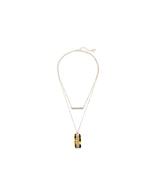 Guess   Metallic Duo Necklace W/ Bar And Dog Tag   Lyst