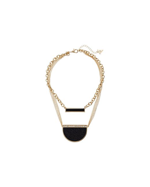 Guess | Metallic Duo Necklace W/ Bar And Pendant | Lyst