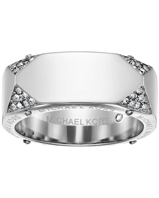 Michael Kors   Metallic Brilliance Banded Ring With Logo And Pave Crystal   Lyst