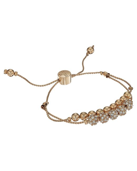 Guess - Metallic Double Row Round Bead And Fireball Slider Bracelet - Lyst