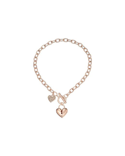 Guess - Pink Puffy Heart Toggle Necklace (rose Gold) Necklace - Lyst