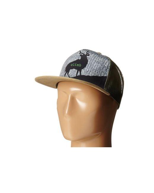 Prana - Green Journeyman Trucker (black) Caps for Men - Lyst