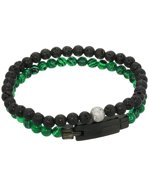 Steve Madden - Multicolor Lava Stone And Beaded Stretch Duo Bracelet Set In Stainless Steel (green/black) Bracelet for Men - Lyst