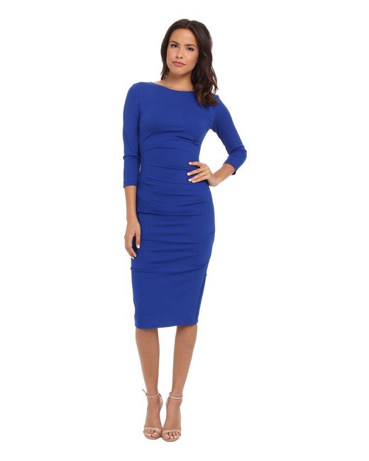 Nicole Miller | Blue Ponte Day Dress | Lyst