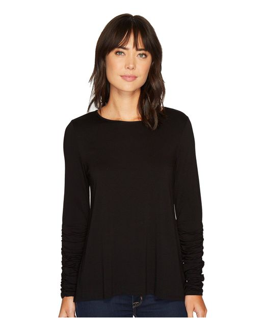 Vince Camuto | Black Long Ruched Sleeve High-low Hem Top | Lyst