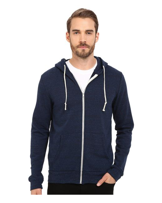 Threads For Thought | Blue Triblend Zip Front Hoodie for Men | Lyst