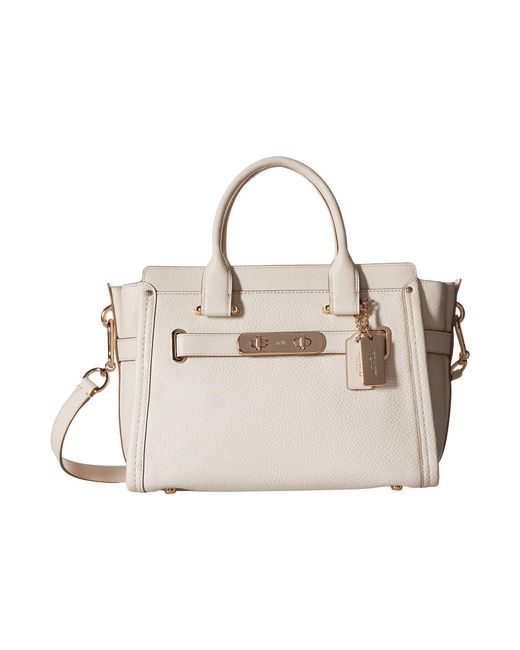COACH | White Pebbled Leather Swagger 27 | Lyst