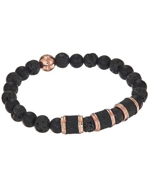 Steve Madden - Stainless Steel Lava Stone Stretch Bracelet (black) Bracelet for Men - Lyst