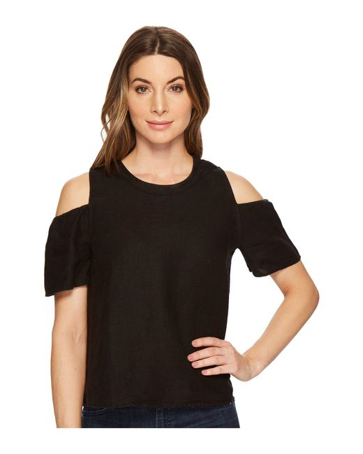 Three Dots - Black Cold Shoulder Top - Lyst