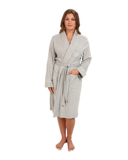 Lauren by Ralph Lauren - Gray Plus Size Essentials Quilted Collar And Cuff Robe (heather Grey) Women's Robe - Lyst