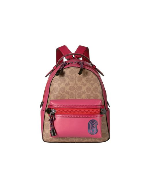 COACH Red Coated Canvas Signature Patch Campus Backpack 23