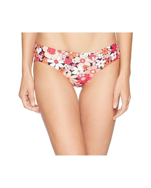 MICHAEL Michael Kors - Pink Cherry Summer Flower Shirred Smooth Fit Cheeky Bikini Bottoms (new Navy) Women's Swimwear - Lyst
