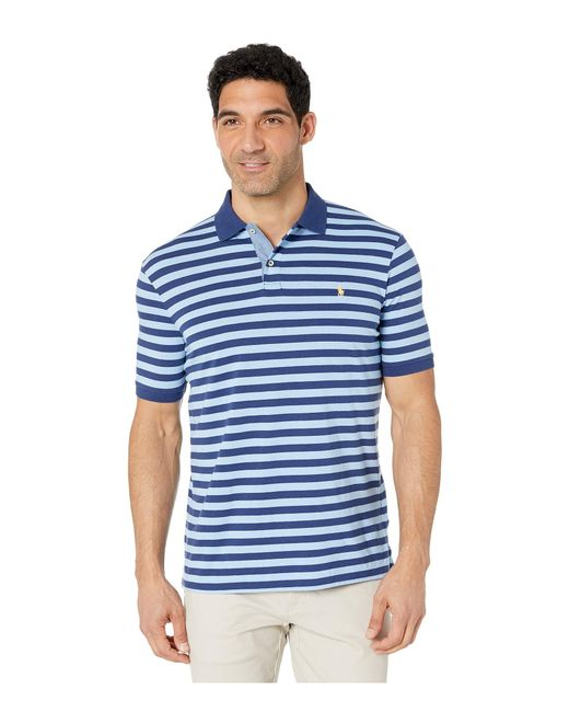 3785fd2091e Polo Ralph Lauren - Blue Classic Fit Striped Jersey Polo Shirt  (freshwater/garden Pink ...