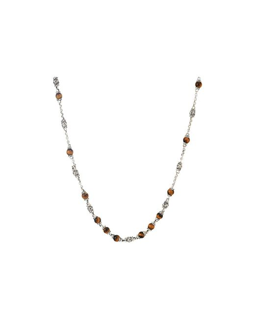 John Hardy - Metallic Classic Chain Bead Necklace With 4mm Tiger Eye Gemstones (silver) Necklace for Men - Lyst