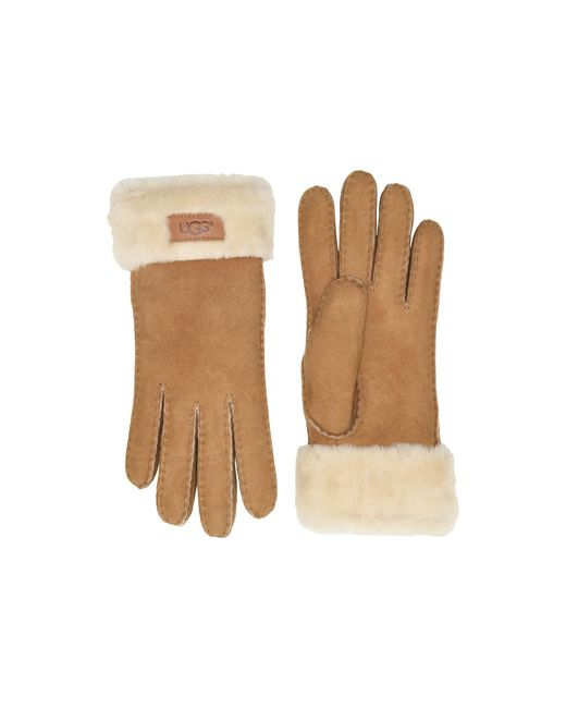 Ugg - Brown Turn Cuff Water Resistant Sheepskin Gloves (lantana Pink) Extreme Cold Weather Gloves - Lyst