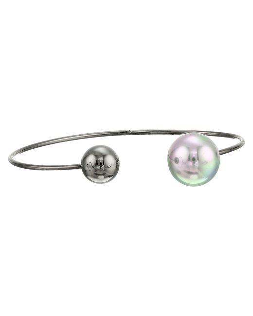 Majorica | Gray 14mm Round Black Steel Choker Bangle Bracelet | Lyst
