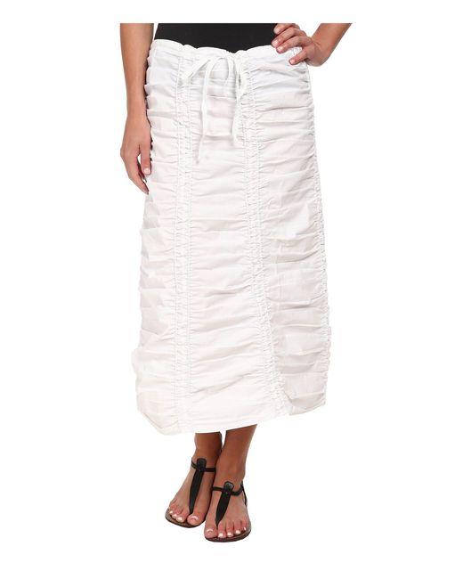 XCVI | White Stretch Poplin Double Shirred Panel Skirt | Lyst
