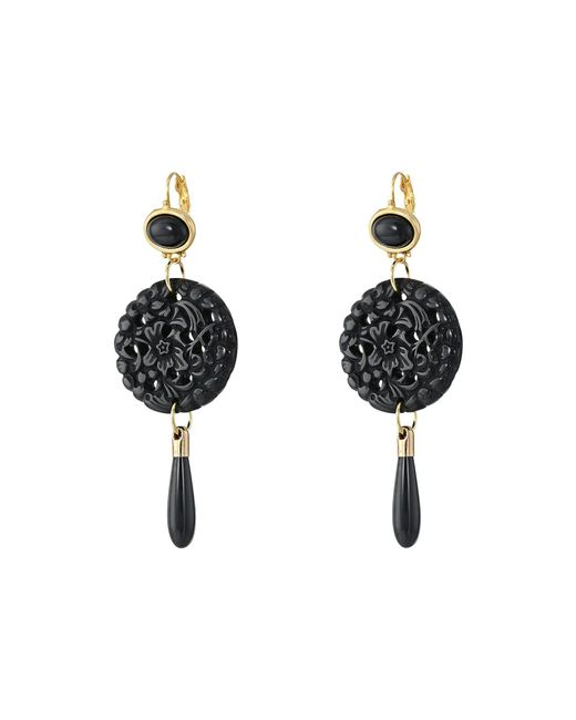 Kenneth Jay Lane - Black Small Top/round Carved Bottom W/ Drop Earrings - Lyst