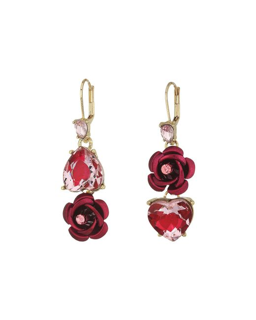 Betsey Johnson - Pink And Gold Non-matching Heart Earrings (pink) Earring - Lyst