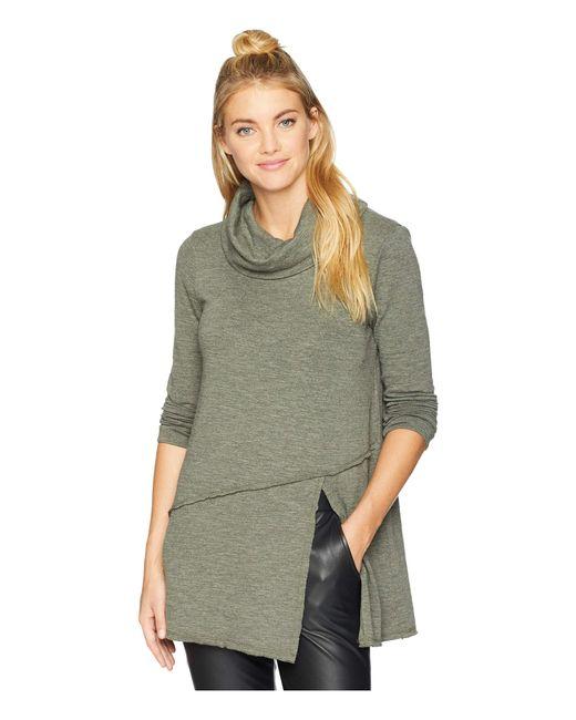 Mod-o-doc - Green Slubby Sweater Knit Cowl Neck Asymmetrical Front Slit Tunic (holly) Women's Sweater - Lyst