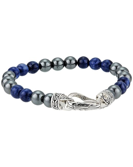 John Hardy - Metallic Classic Chain 8 Mm. Bracelet With Sodalite And Hematite Beads (silver) Bracelet for Men - Lyst