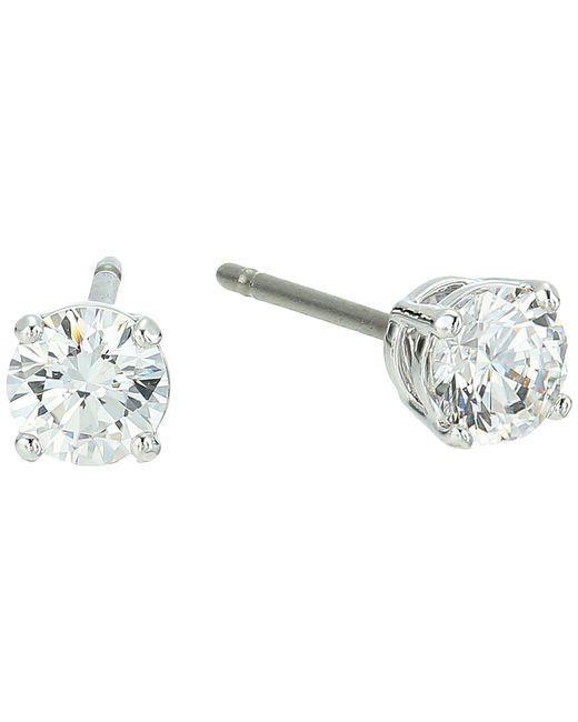 Swarovski - Multicolor Attract Round Pierced Earrings (rhodium Plating/white) Earring - Lyst
