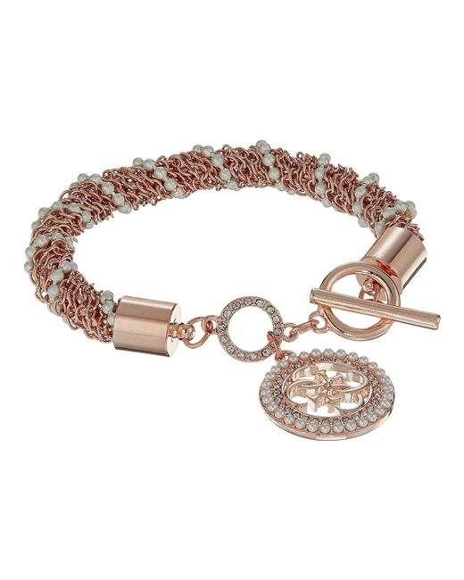 Guess - Metallic S Toggle Line Bracelet W/stones - Lyst