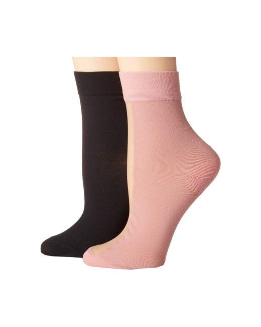 Steve Madden - Multicolor 2-pack Nylon Half Sheer Nude Crew (black) Women's Crew Cut Socks Shoes - Lyst