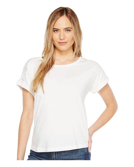 B Collection By Bobeau   White Nash Macrame Detail T-shirt   Lyst