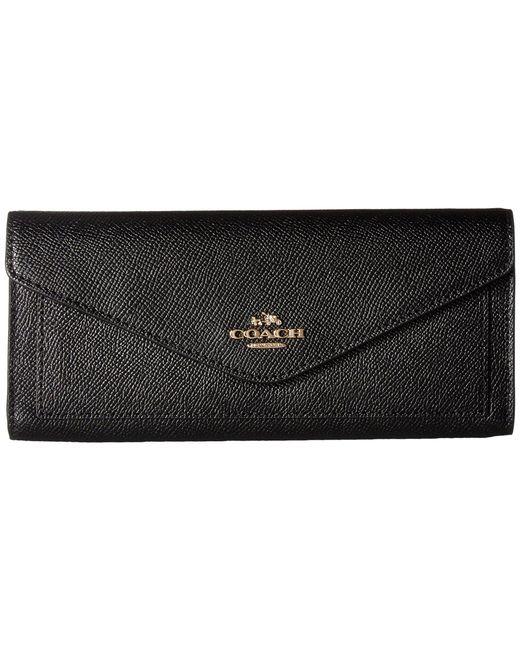 COACH - Black Soft Wallet In Crossgrain Leather (li/navy) Wallet Handbags - Lyst