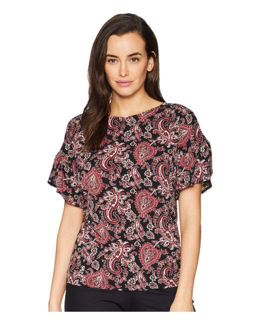 MICHAEL Michael Kors - Sweetheart Ruffle Sleeve Top (black/maroon) Women's Clothing - Lyst