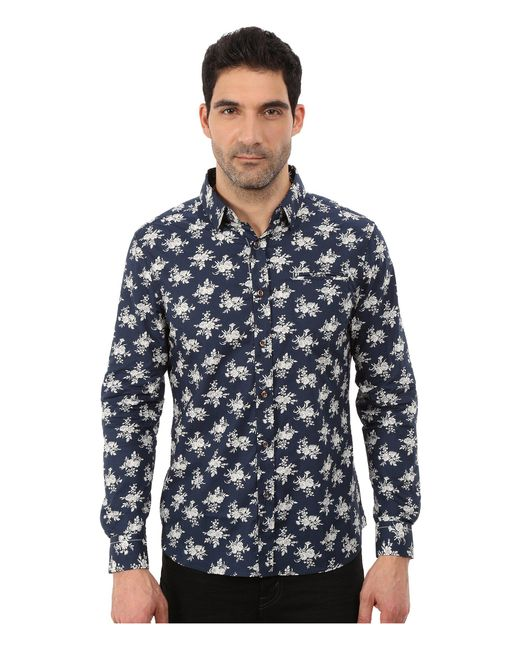 7 Diamonds | Blue Flourish Long Sleeve Shirt for Men | Lyst
