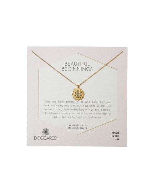 Dogeared - Metallic Beautiful Beginnings, Detailed Lotus Charm With Crystal Inset Necklace (sterling Silver) Necklace - Lyst
