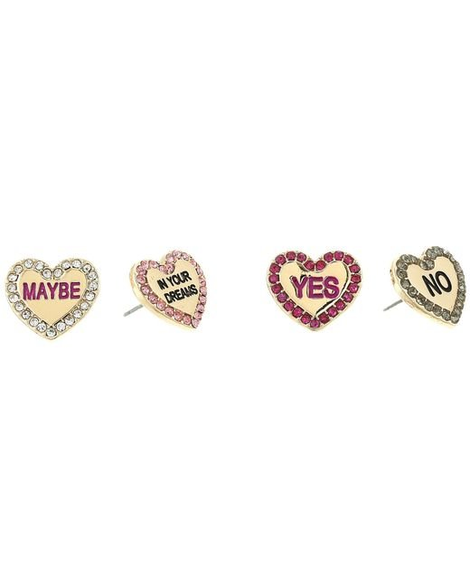 Betsey Johnson - Multicolor Conversation Heart Stud Earrings Set - Lyst