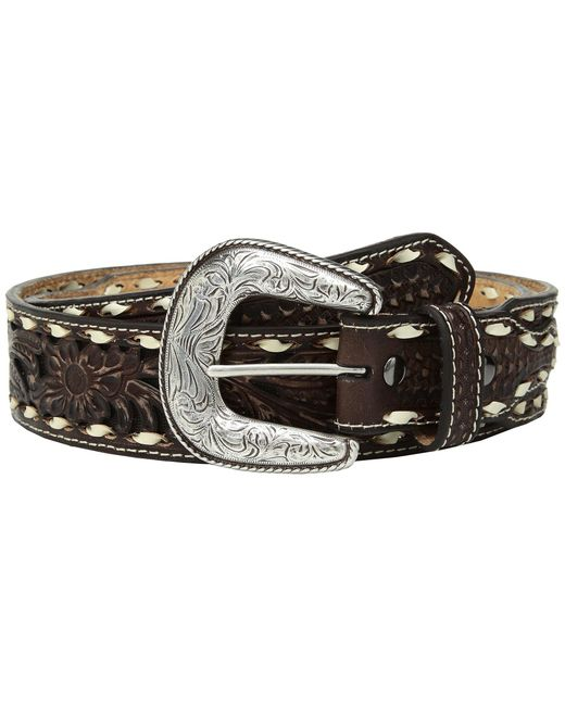 Ariat - Floral Pierced With Buckstitch Belt (brown) Men's Belts for Men - Lyst