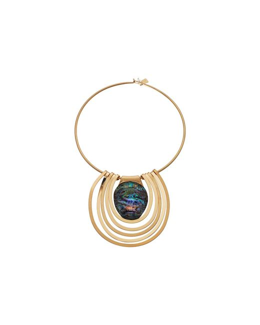 Robert Lee Morris - Metallic Abalone And Gold Round Wire Necklace - Lyst