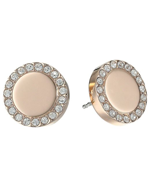 Fossil - Pink Glitz Metal Stud Earrings - Lyst