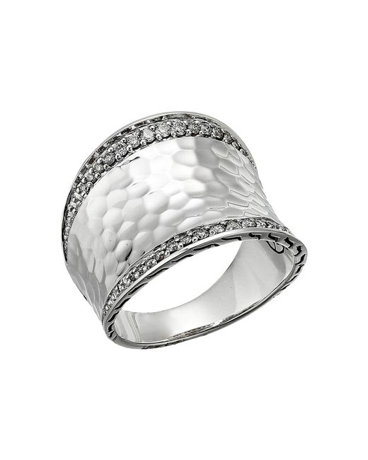 John Hardy - Metallic Classic Chain Hammered Diamond Pave Small Saddle Ring (silver) Ring - Lyst