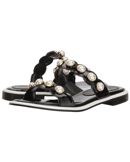 Suecomma Bonnie - Pearl Ornament Flat Sandals (black) Women's Sandals - Lyst