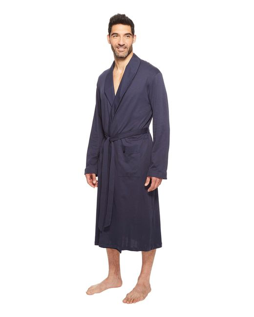 6d6865737a Lyst - Hanro Night   Day Knit Robe Black Iris in Blue for Men - Save 20%