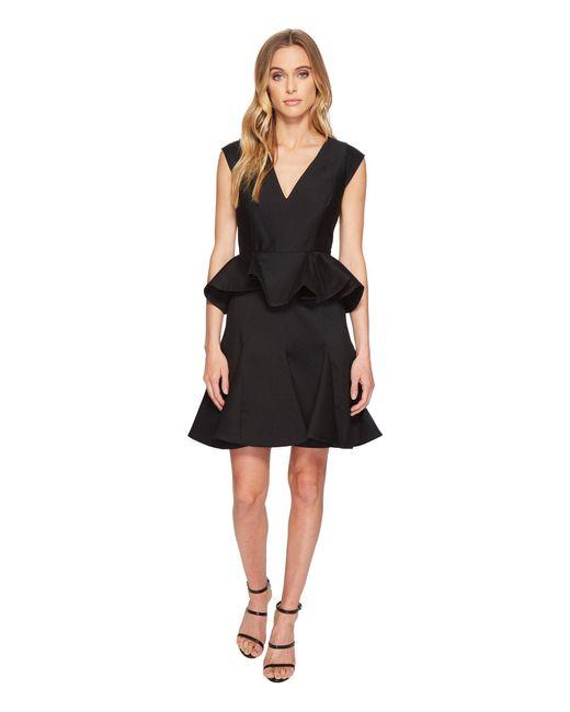 Lyst Halston Cap Sleeve V Neck Dress W Peplum Black Womens